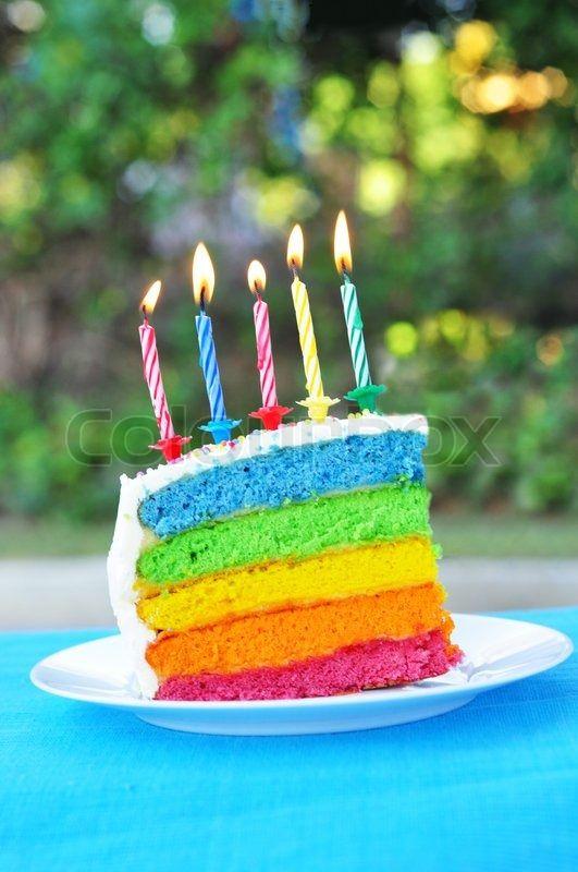 Magnificent Rainbow Birthday Cake Slice Personalised Birthday Cards Akebfashionlily Jamesorg