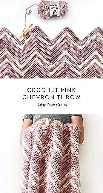 Kostenlose Anleitung - Crochet Pink Chevron Throw #crochet,  #anleitung #chevron #crochet #kostenlose #throw