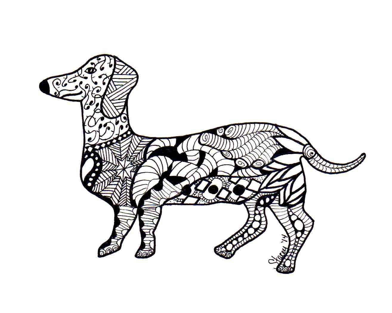 Zentangle Dachshund With Images Dog Coloring Page Animal