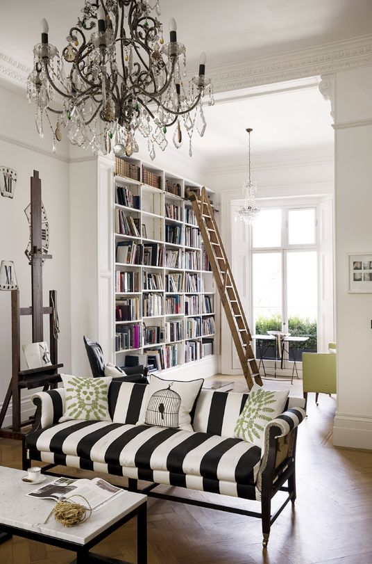 Black And White Striped Sofa, Ornate Chandelier: