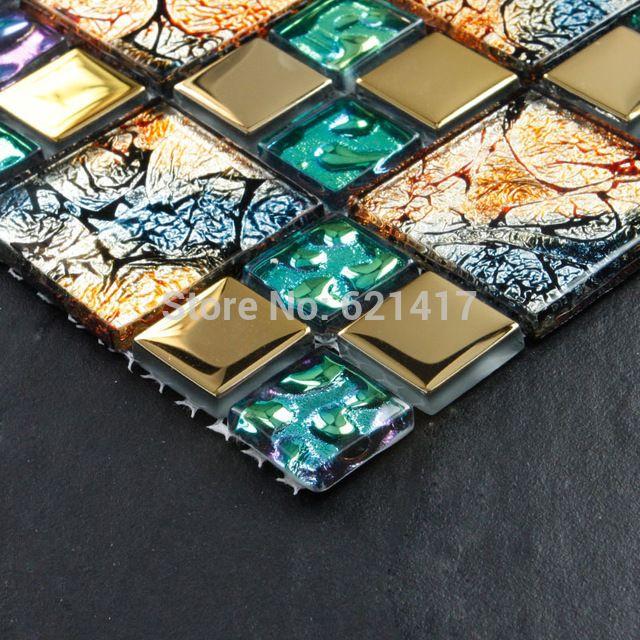 Iridiscente siete colores sinfonía oro electrochapa vidrio ...