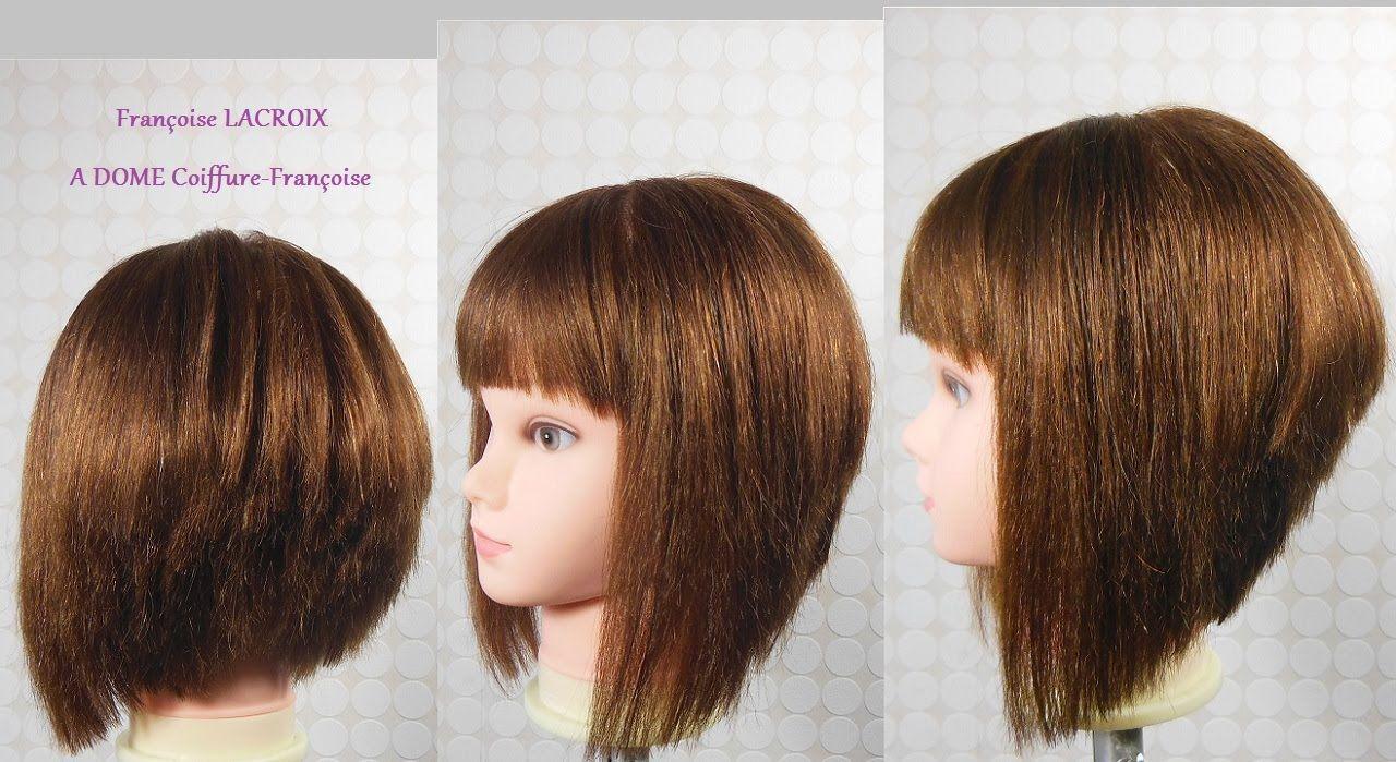 coupe carré plongeant dégradé, frange | layered/a line bob haircut