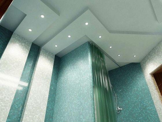 Abgesenkte Zimmerdecke Duschbereich Mit Beleuchtung Badezimmerleuchten    LED Beleuchtung Mit Spritz Und