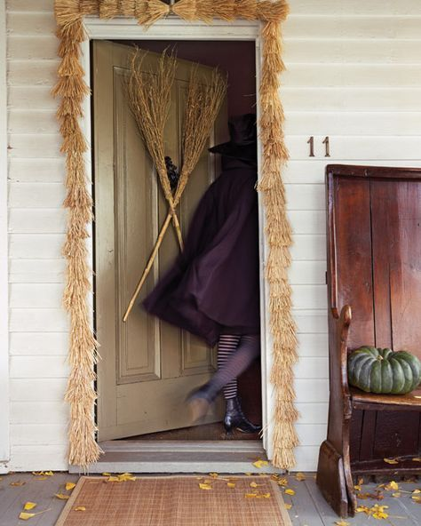 Doorway of Doom Broom Garland Broom heads, Front doors and Garlands - decorating front door for halloween