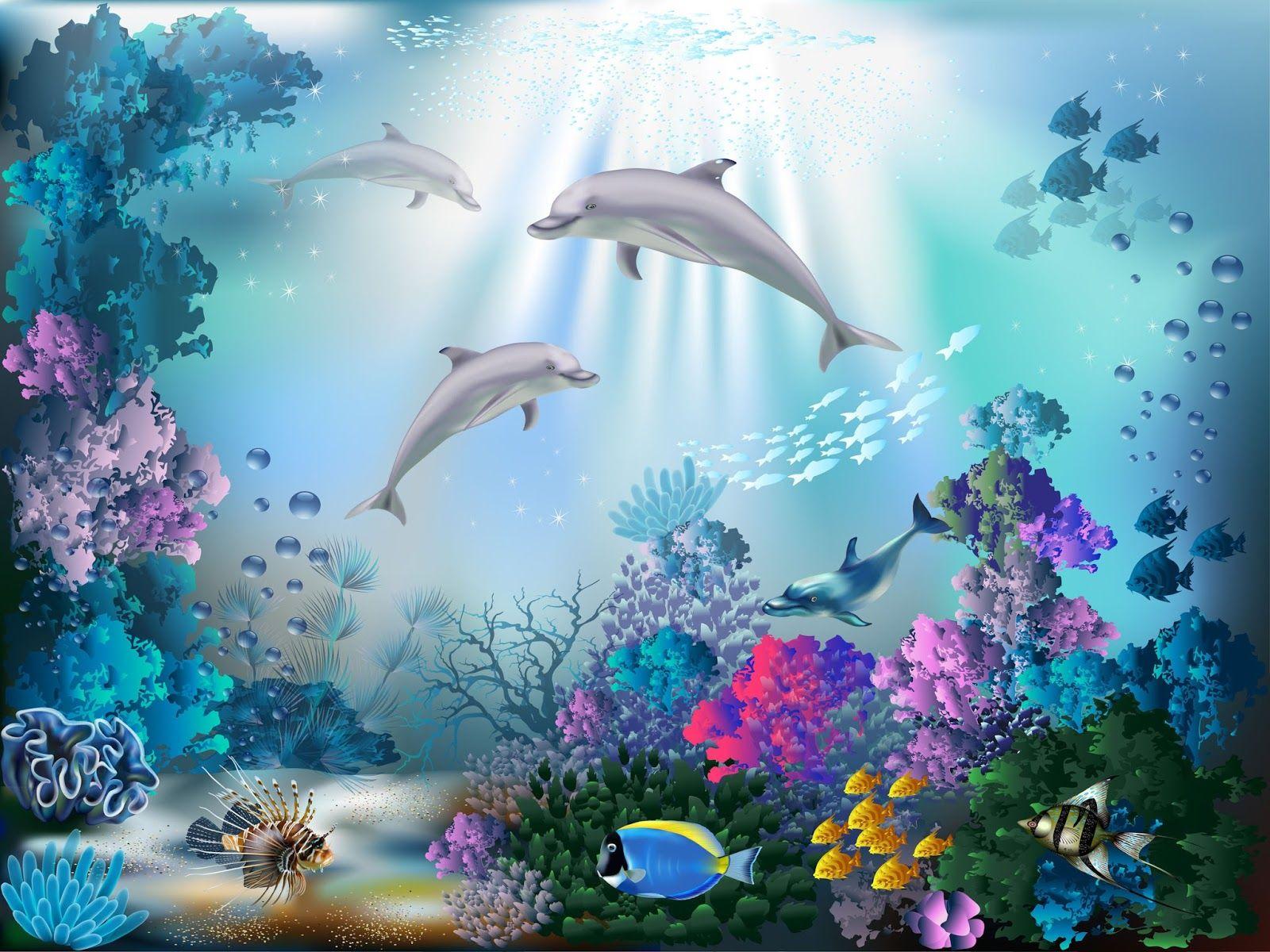 Fondo marino con peces de colores, arrecifes, corales y delfines ...