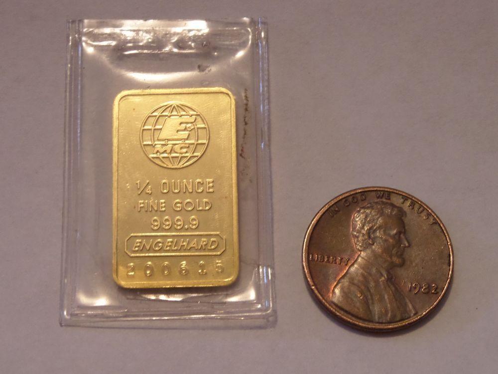 999 9 Engelhard 1 4 Ounce Gold Bar Serial 200615 Gold Bar Gold Gold Bullion