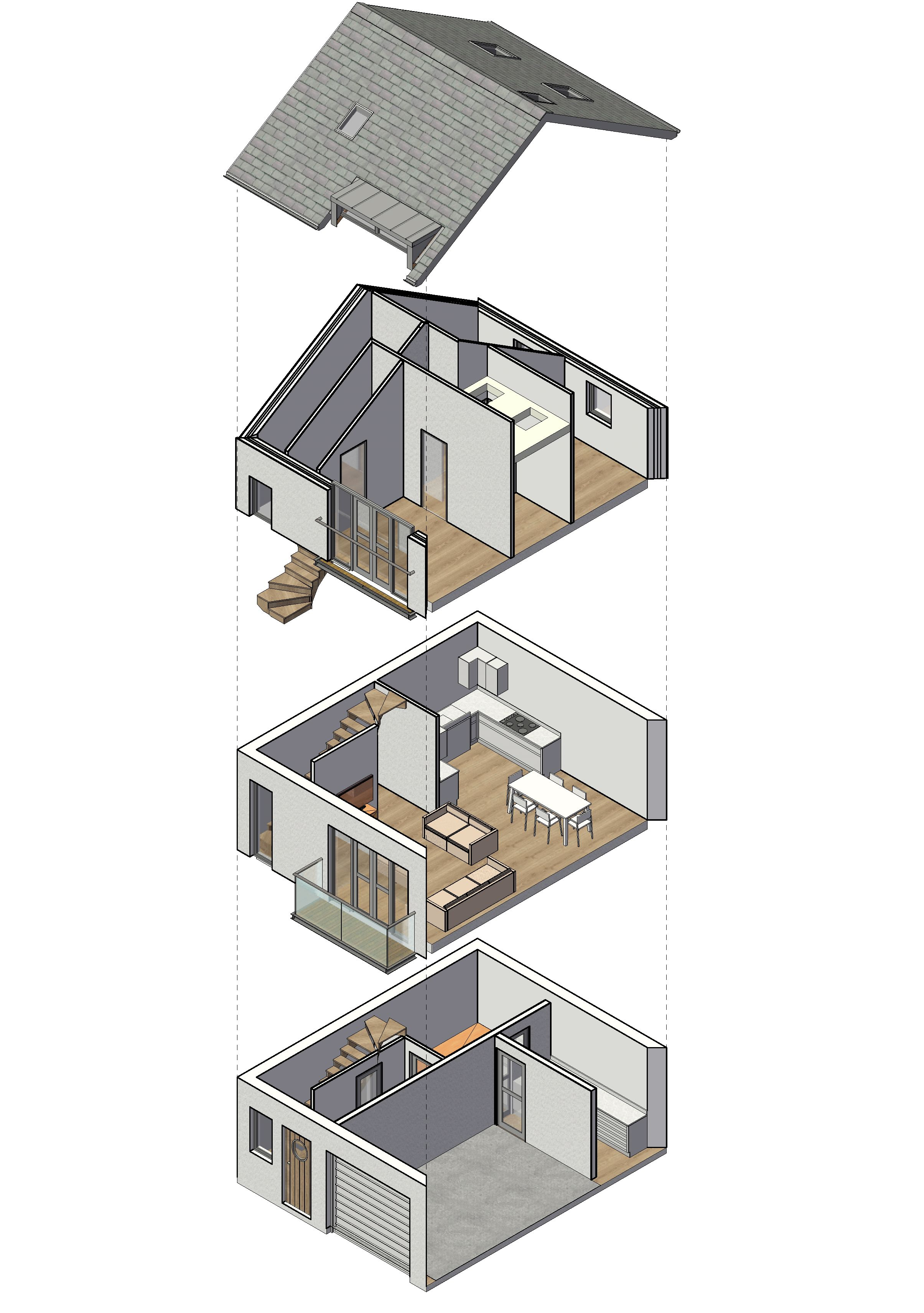 Exploded View Of Small Residential Development Now Completed In Ilfracombe Interior Architecture Design Revit Architecture Architecture Visualization