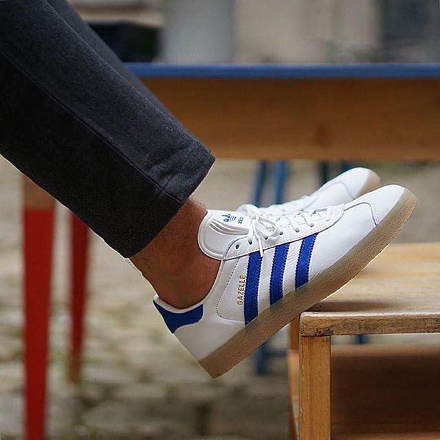 Adidas Originals Gazelle Leather: White/Blue