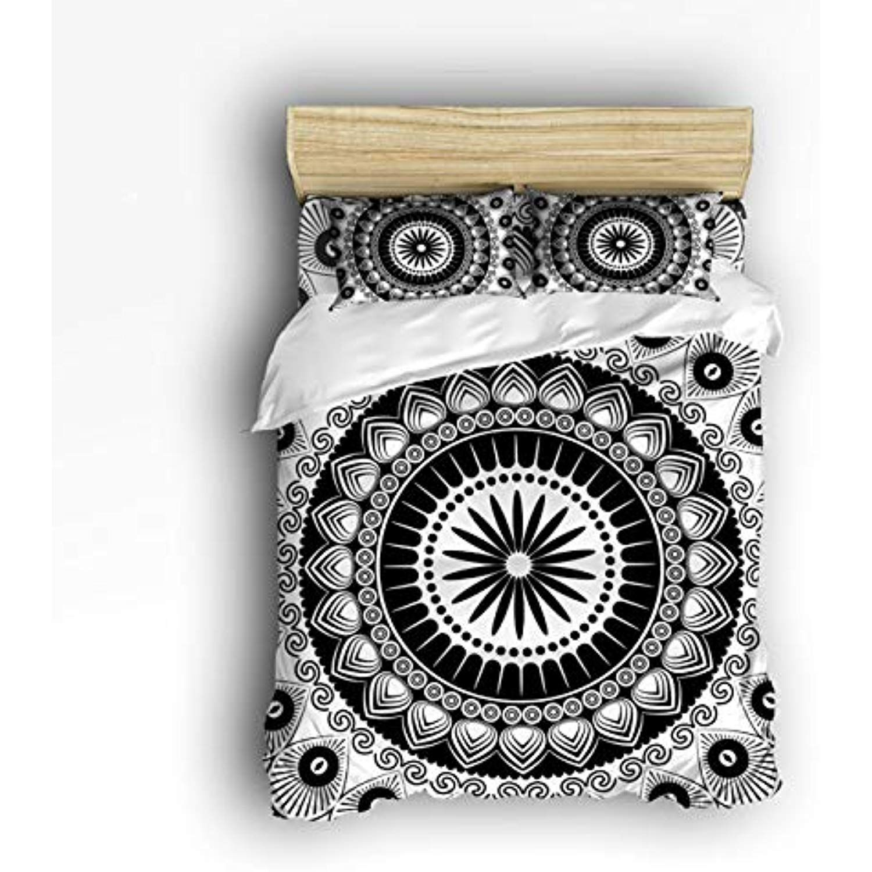 Art Decor Home Simple Floral Mandala Pattern Black And White 4 Piece Duvet Cover Bedding Sets 100 Polyester Fiber Comfo Art Decor Mandala Pattern Duvet Covers