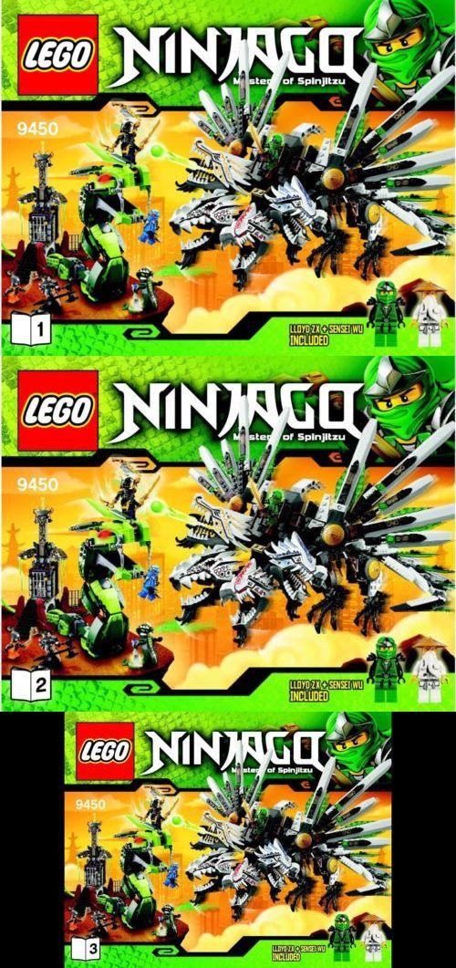 Lego 9450 Ninjago Epic Dragon Battle Instructions Only Set 3 Manuals