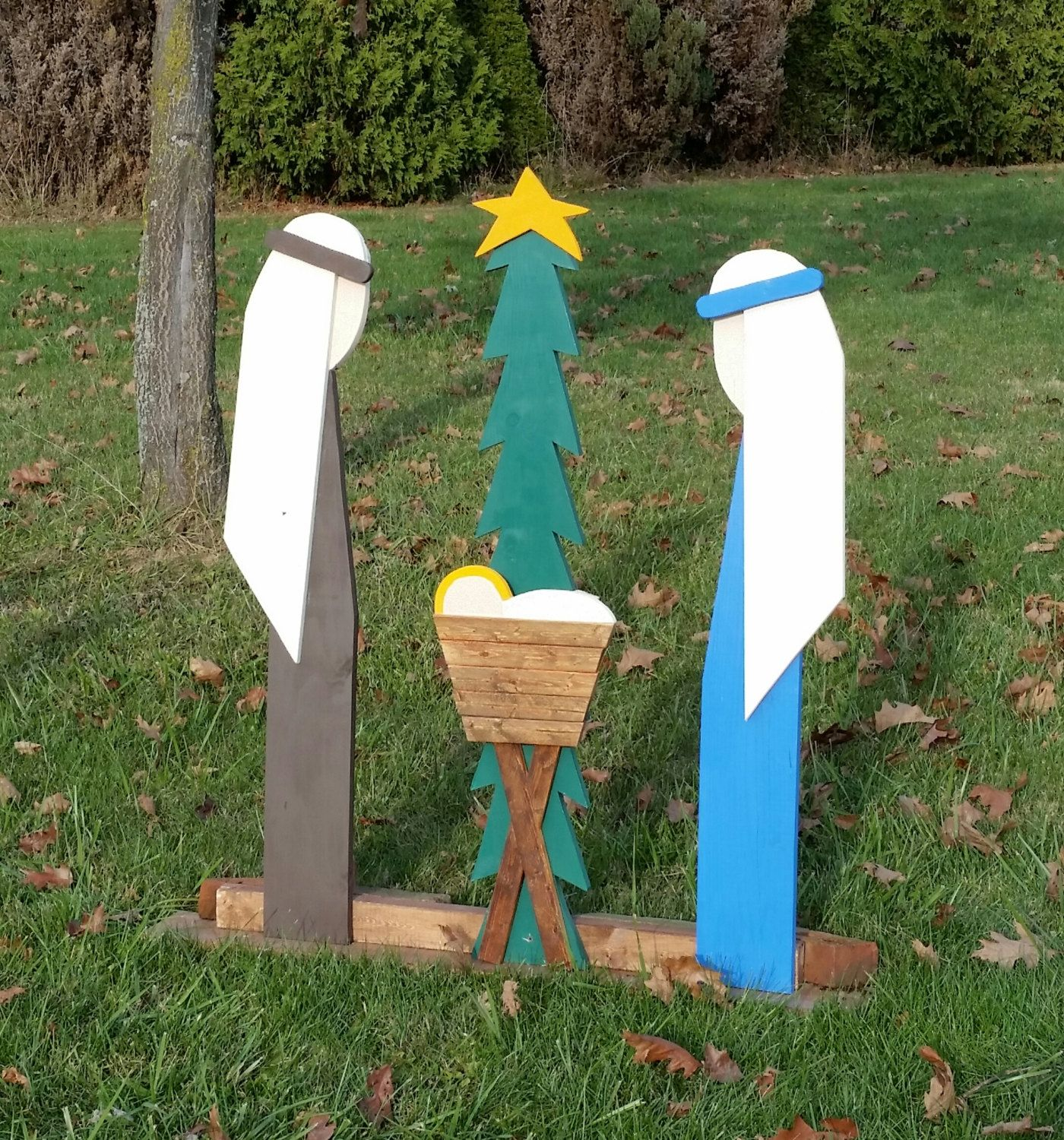 Outdoor Christmas Decorations Nativity Set Outdoor Wooden Etsy Outdoor Christmas Outdoor Christmas Decorations Christmas Decorations