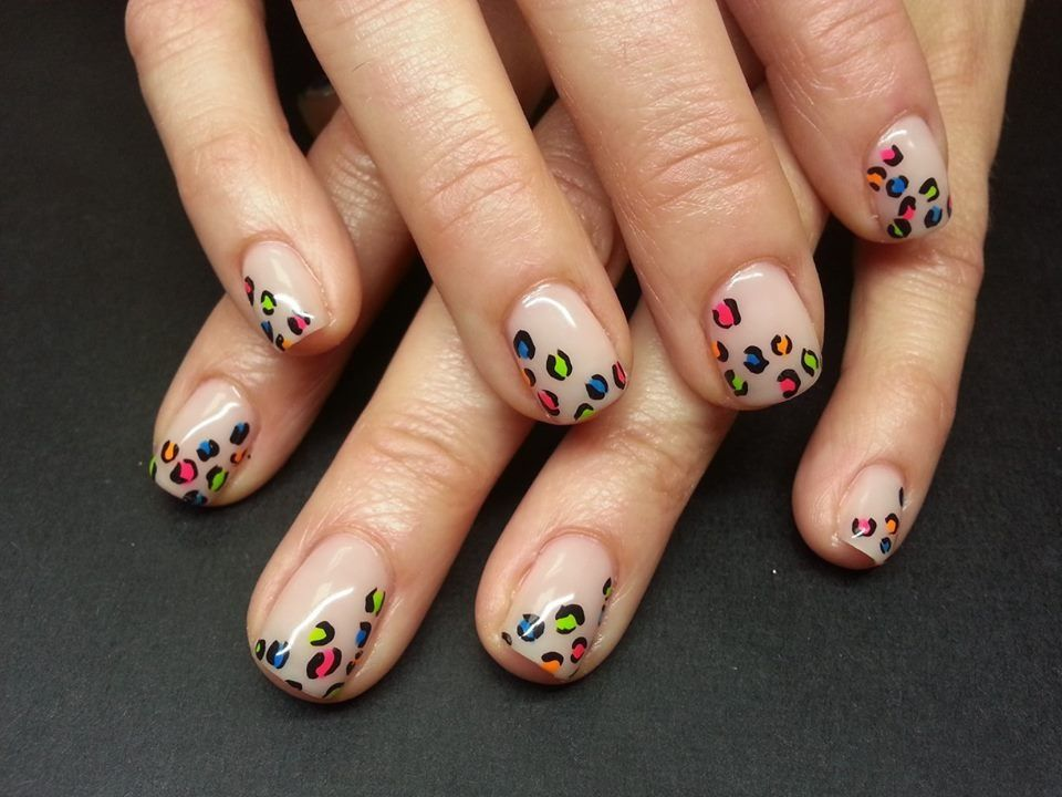 leopard french #nailart #coolnails #neonnails | Neon nails ...