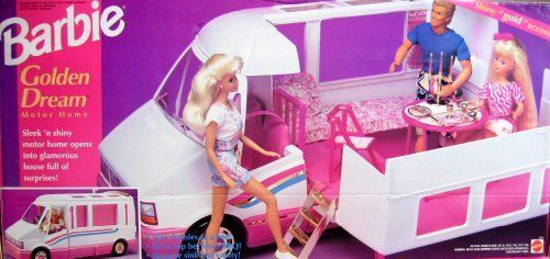 "Barbie GOLDEN DREAM MOTOR HOME Vehicle - RV MOTORHOME Van w ""GOLD"" Accents Becomes HOME & TRAIL RIDER (1992) by Mattel. $529.99"