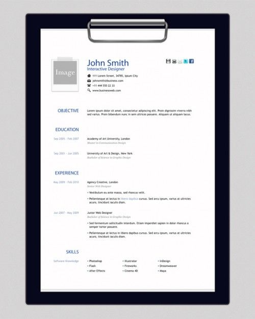 Free Html Resume Template  Design    Cv Template Free