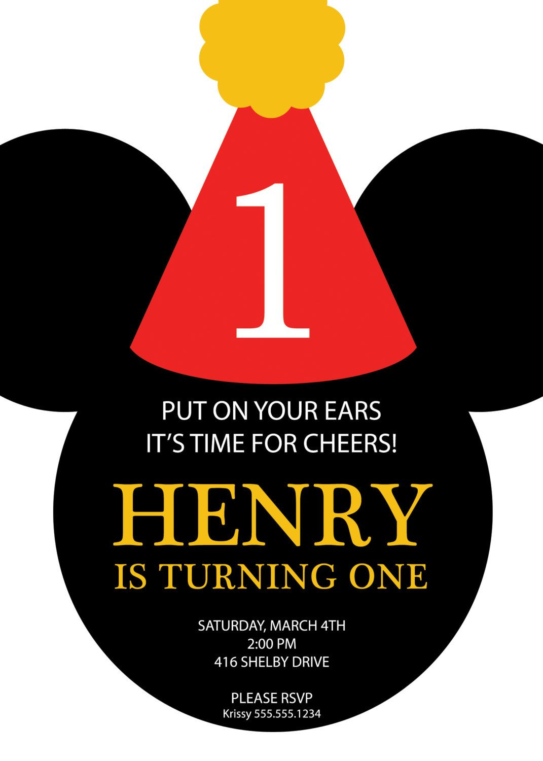 Mickey Mouse Party Hat Birthday Invitation - Custom DIY Printable ...