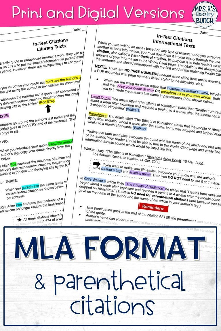 Mla Format And Parenthetical Citation Print Digital Distance Learning Informational Text Middle School Ela Activitie English Teacher Classroom How To Do In If There I No Author