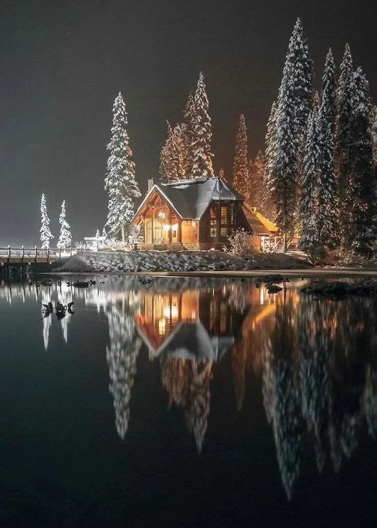 A beautiful photo of nighttime during the winter season