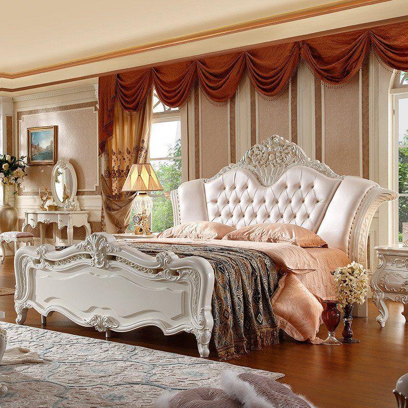 french king bedroom set pink color leather  bedroom set
