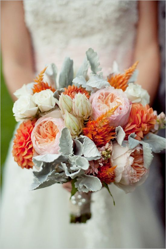 Peach, pink and green wedding flower bouquet, bridal bouquet, wedding flowers -www.myfloweraffair.com can create this beautiful wedding flower look.
