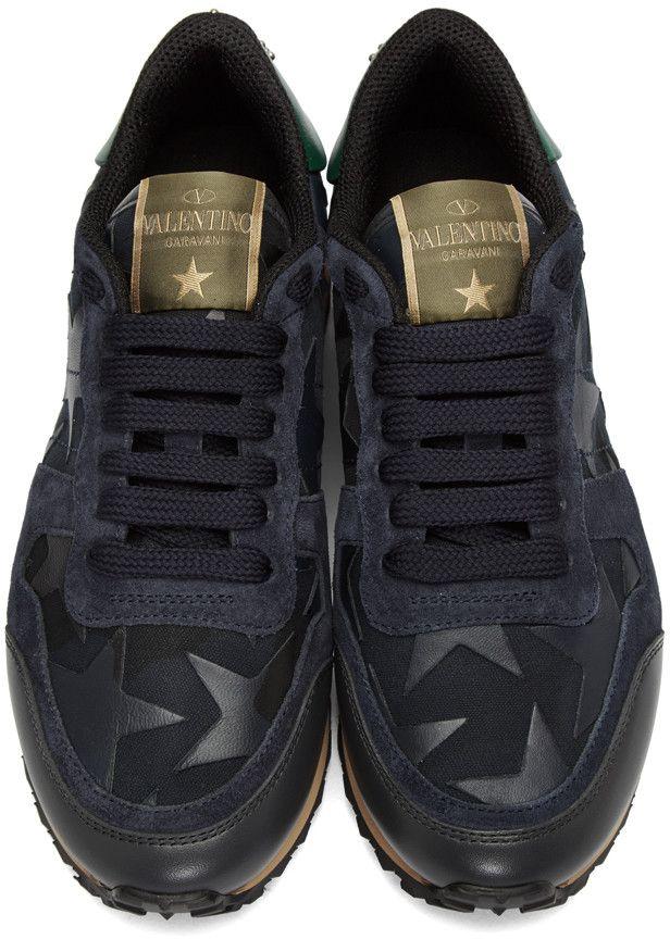fe13239718b30 Valentino - Navy Star Rockrunner Sneakers   Valentino sneakers ...