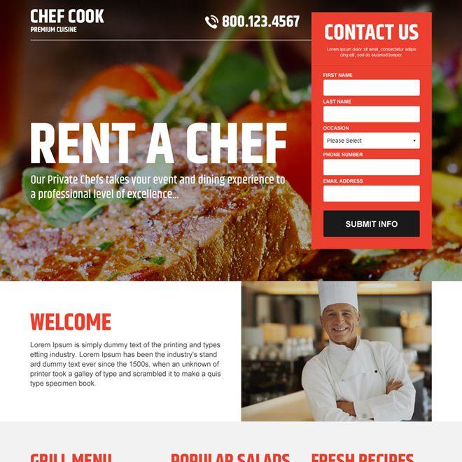 Best Chef Cook Lead Capture Landing Page Design