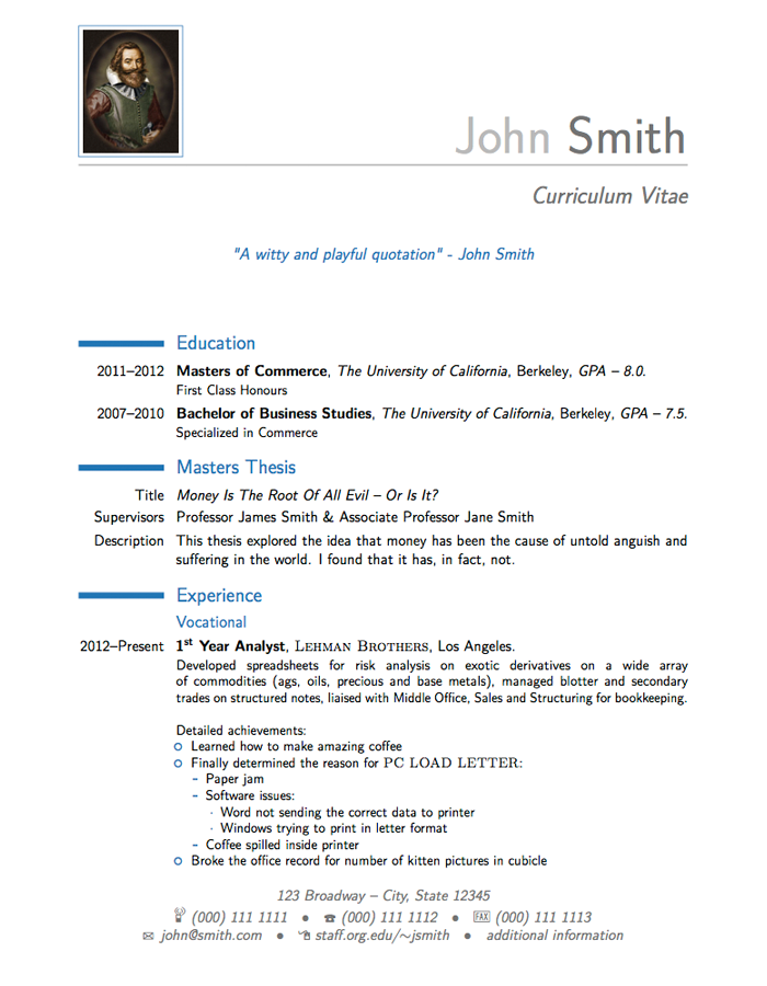 In Latex 3 Resume Format Resume Sample Resume Cv Template