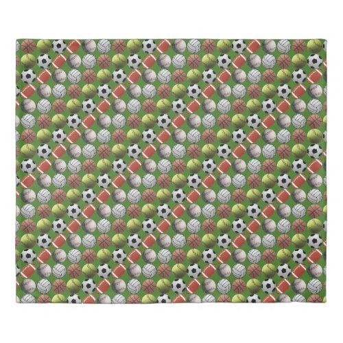 All Sports Balls on Green Field Duvet Cover