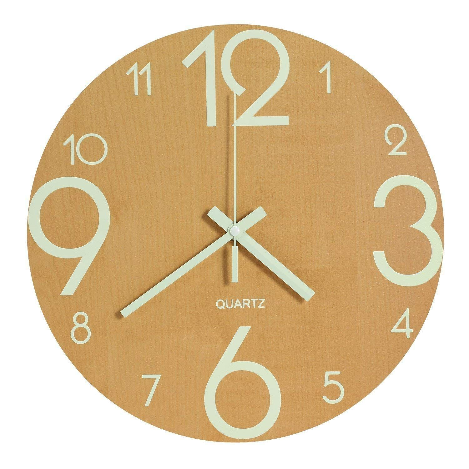 Genbaly Luminous Wall Clock 12 Inch Wooden Silent Non Ticking Kitchen Wall Clocks With Night Lights For Indoor Outdoor Living Room Bedroom Decor Battery Operat Kitchen Wall Clocks Wall Clock Modern Indoor Outdoor