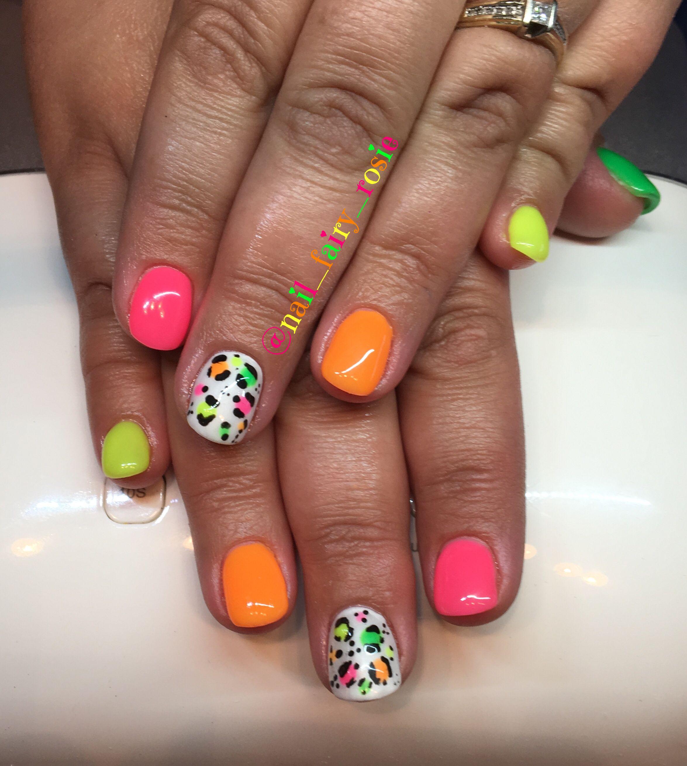 Neon And Leopard Print Gel Nail Design Gel Nail Designs Nails Gel Nail Design