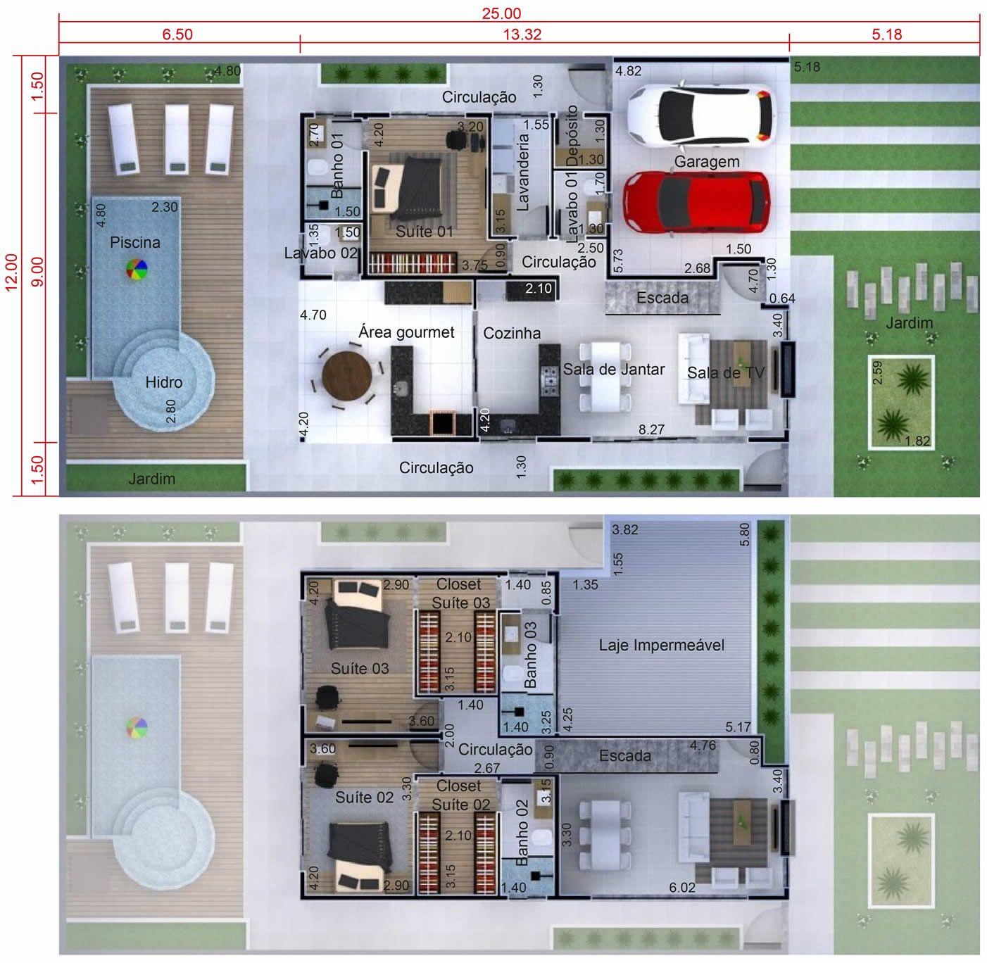 Plano de sobrado con cocina gourmet planos de casas for Casa moderna 8x20