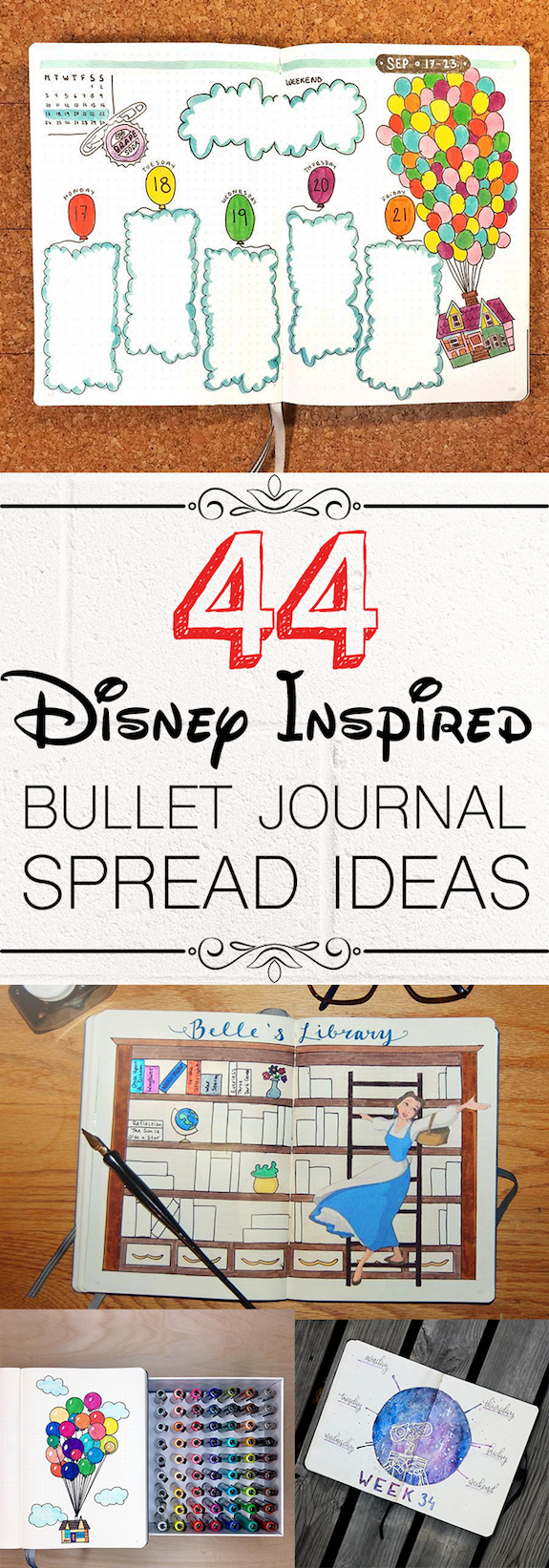 44 Magical Disney Inspired Bullet Journal Ideas Your Inner Child Will Swoon Over is part of Organization Printables Bullet Journal - Add a little sparkle of magic to your bullet journal with these 44 beautiful Disney Inspired Bullet Journal Layouts