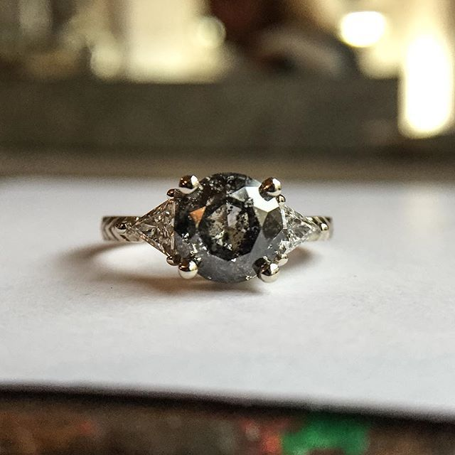Custom engagement band with 2ct dark salt pepper diamond in the