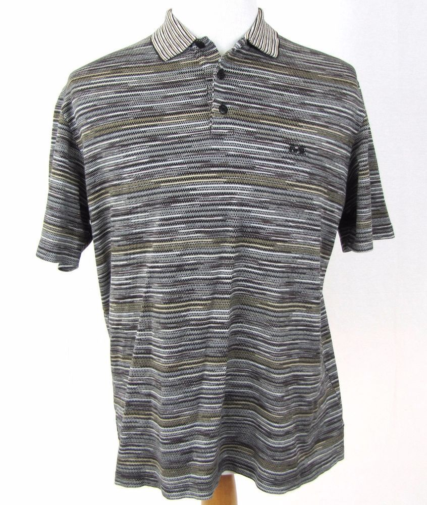 Missoni Sport Shirt Large Golf Polo 100% Stretch Cotton Wild Abstract Striped #Missoni #PoloRugby