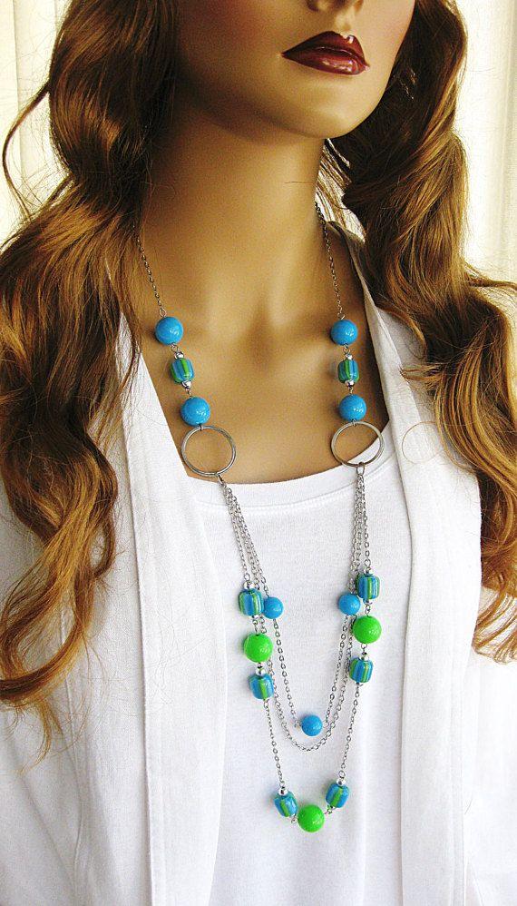Lange blauw en groen kralen ketting met Multi Strand Necklace, blauwe kralen halsketting, blauwe en groene ketting, Multi Strand lange ketting, N-687