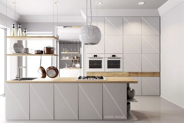 Modern kitchens wood worktop white fronts diagonally Iceland hood ...