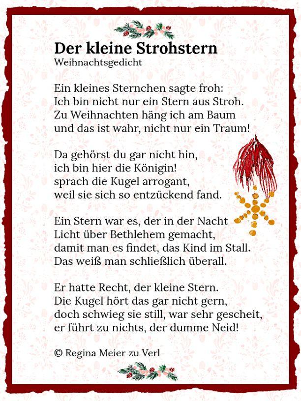 Der Kleine Strohstern Strohsterne Gedichte Zum Advent Weihnachten Geschichte