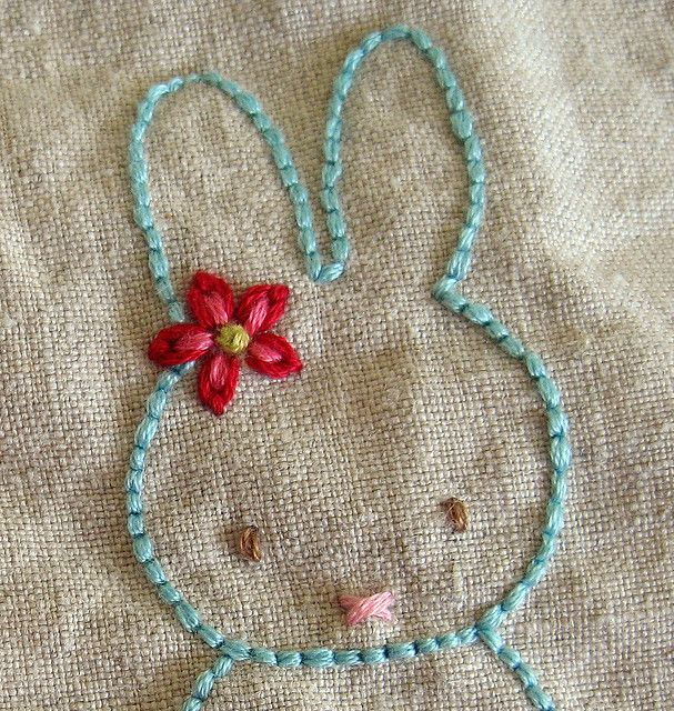 I love how the many strands of floss and short stitches make a bold outline.  bunny in progress, via Flickr.