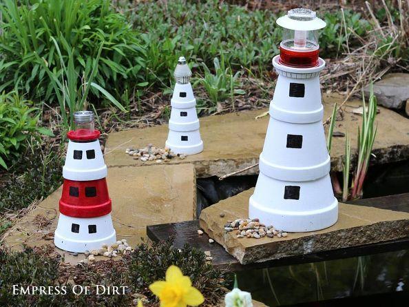 DIY Clay Pot Lighthouses