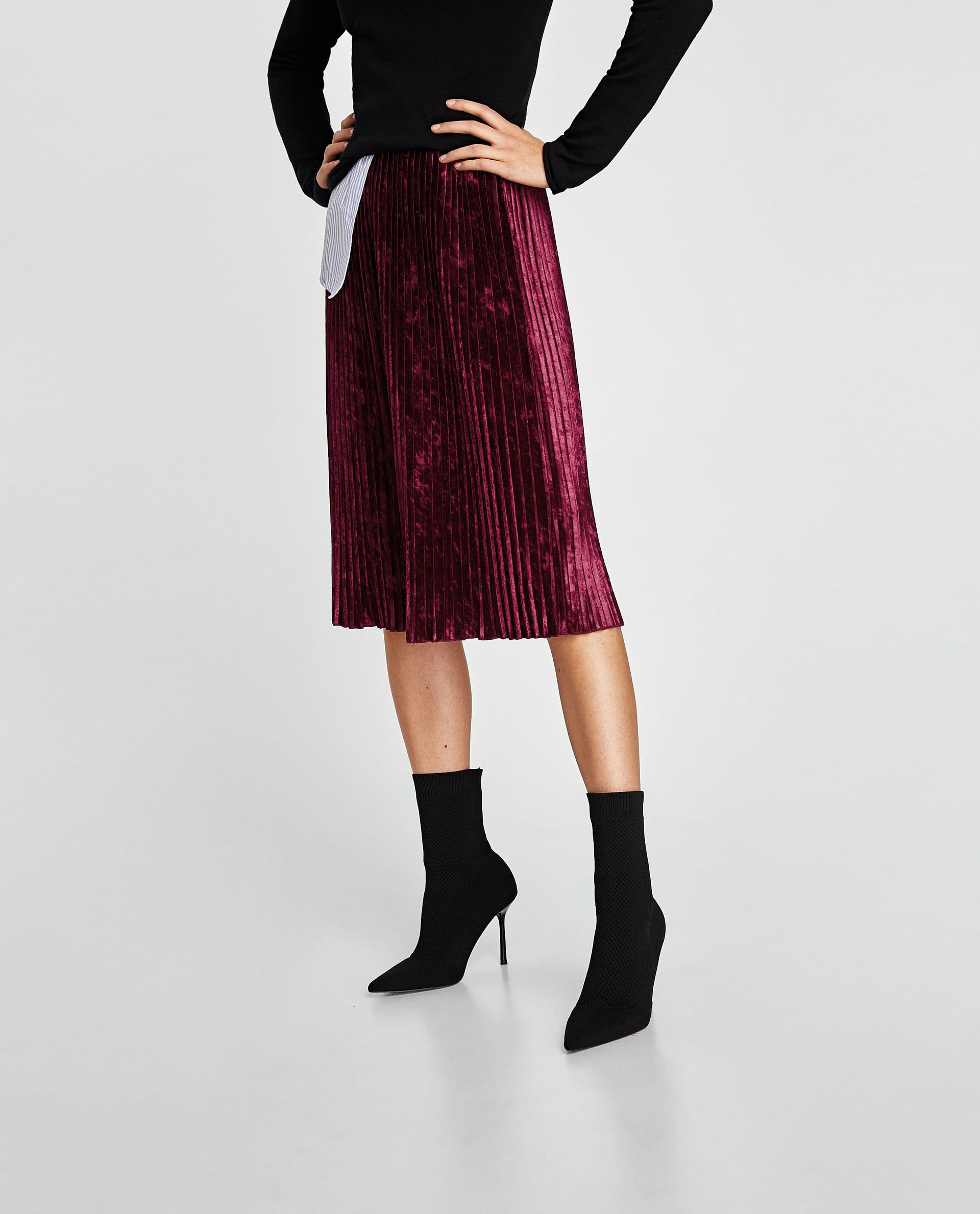 PLEATED VELVET SKIRT  d78a51f5341