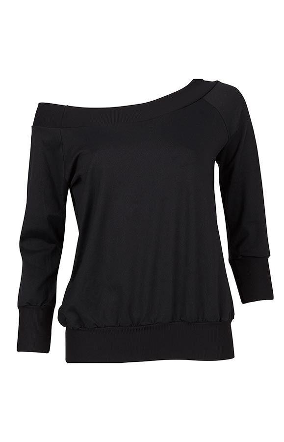 Flashdance shirt in zwart | Ook te combineren met een sporttop