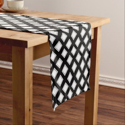 Black And White Checkered Pattern Short Table Runner Zazzle Com Long Table Runner Personalized Table Runner Table Runner Pattern