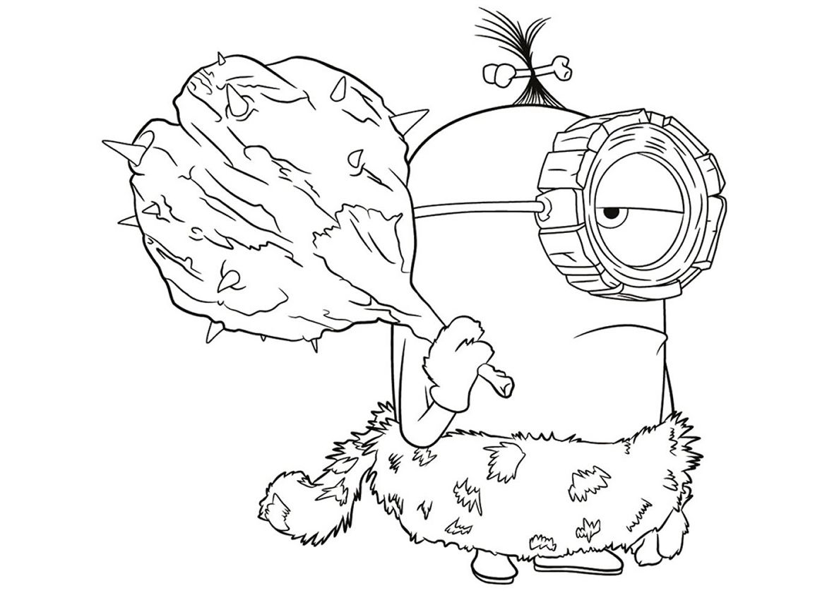 Neanderthal Minion High Quality Free Coloring Page From The Category Minions More Print Minions Coloring Pages Minion Coloring Pages Cartoon Coloring Pages
