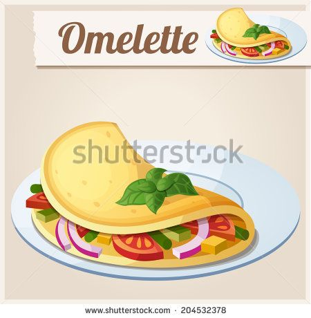 Omelette with vegetables. Detailed Vector Icon. Series of food and drink and ingredients for cooking. - stock vector