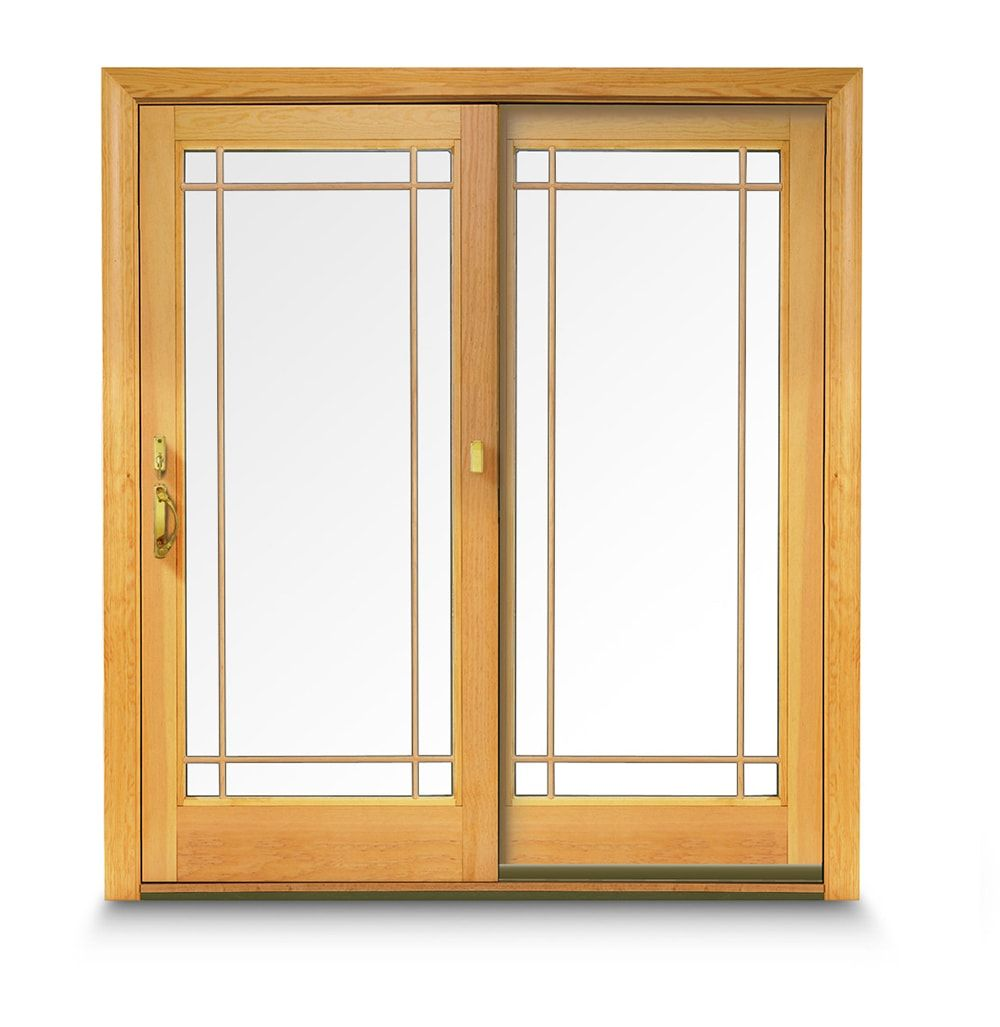 Andersen 400 Series Frenchwood Gliding Patio Doors Pine Interior Prairie Style Grilles Estate Hardware Collection Newbury Design Bright Br Finish