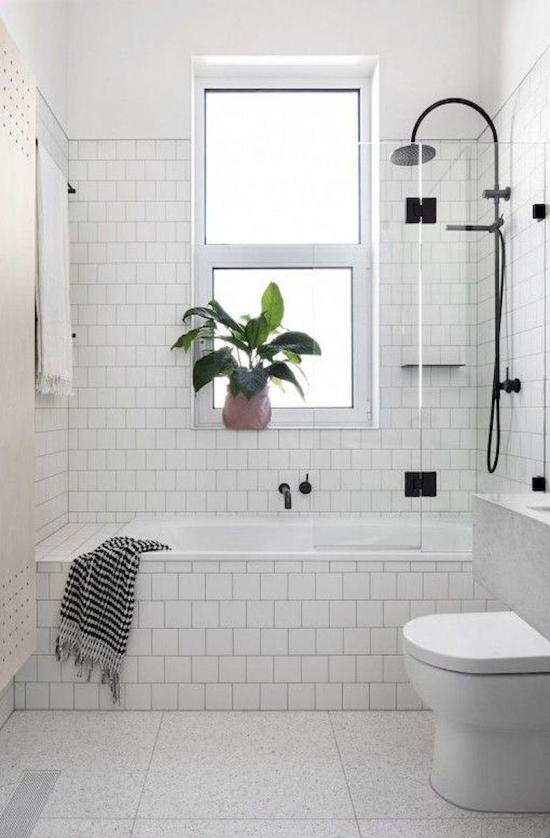 Beautiful All White Bathroom White Subway Tile Black Matte