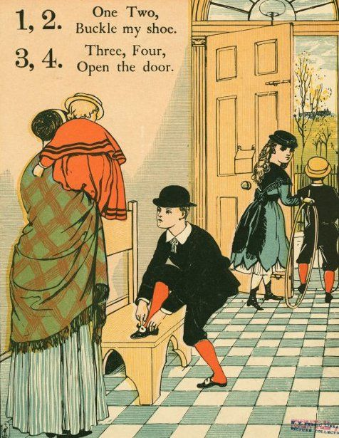 One Two Buckle, My Shoes...Three, Four, Open The Door by Walter Crane (1845-1915 English)