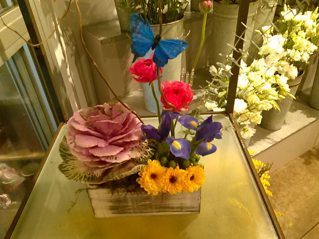 Another springtime arrangement in a small wooden box purple iris in a small wooden box purple iris viking daisies hot pink ranunculus and yes that is a large kale in there that looks like a large lavender flower izmirmasajfo