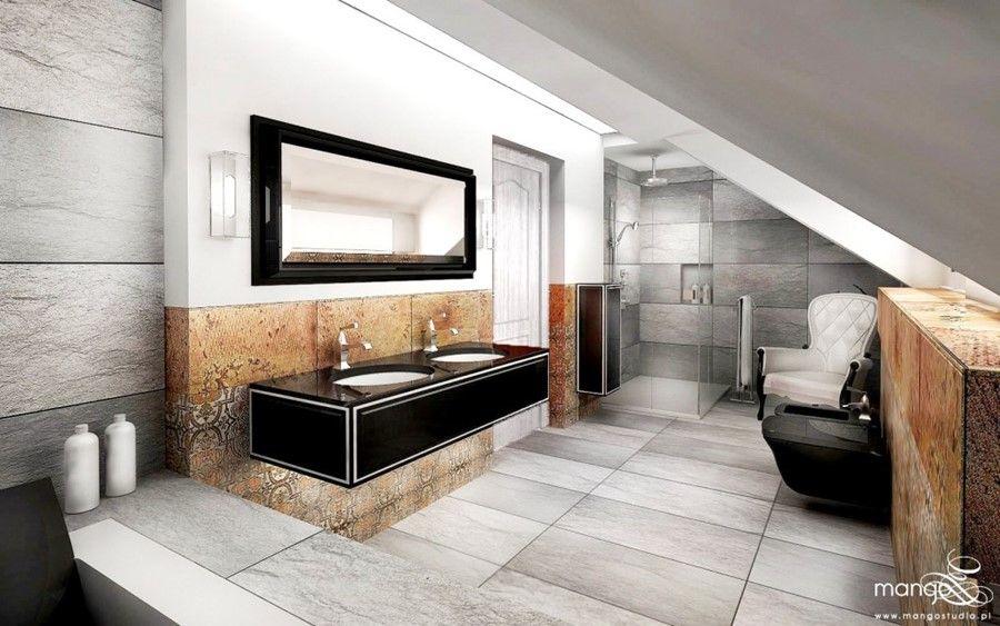 Stylowa łazienka Na Niskim Poddaszu Architektura Wnętrza