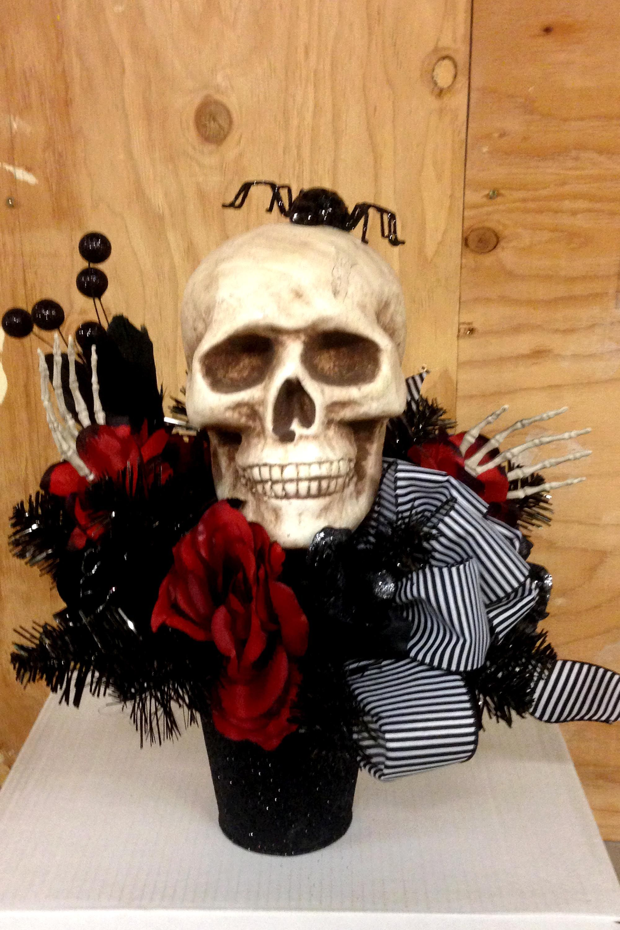 Skull and red rose Halloween arrangement halloween center piece - michaels halloween decorations