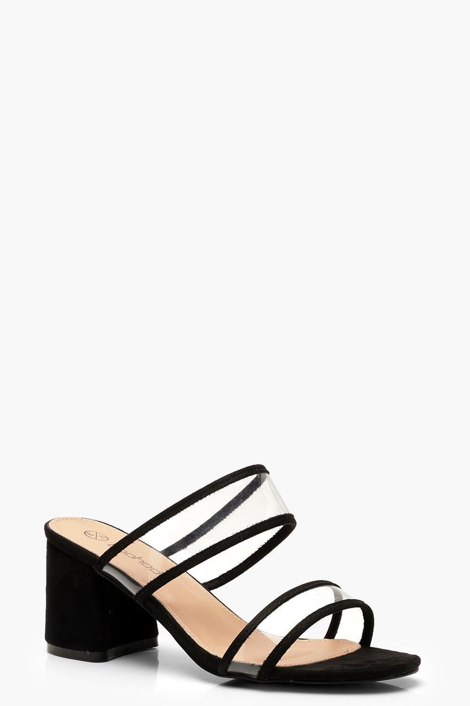 Womens Wide Fit Clear Block Heel Mules